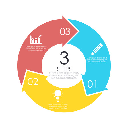 Vector circle chart infographic template. Business concept with 3 steps or options. Abstract background.