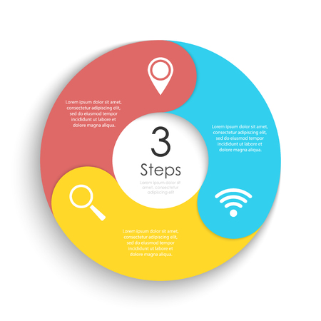 Vector circle chart infographic template for cycle diagram, graph, web design. Business concept with 3 steps or options. Abstract background.