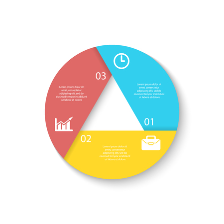 Template for circle diagram, options, web design, graph and round infographic. Business concept with 3 elements, step, option.
