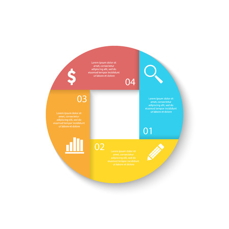Template for circle diagram, options, web design, graph and round infographic. Business concept with 4 elements, step, option. Ilustrace