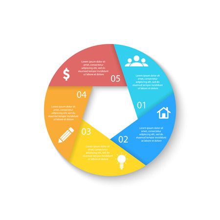 Template for circle diagram, options, web design, graph and round infographic. Business concept with 5 elements, step, option. Ilustrace