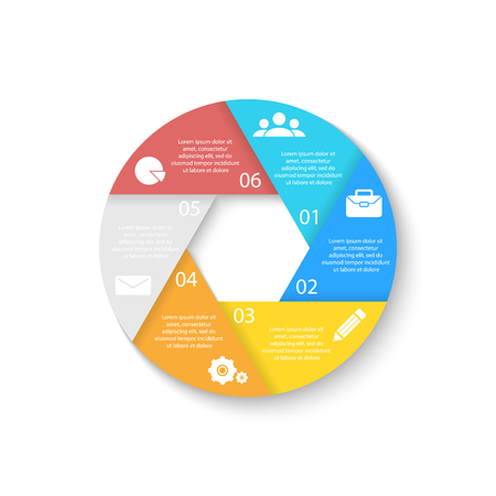 Template for circle diagram, options, web design, graph and round infographic. Business concept with 6 elements, step, option.