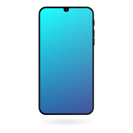 Smartphone mockup with blue gradient screen on white background. Black color digital gadget template. Modern phone. Vector illustration.