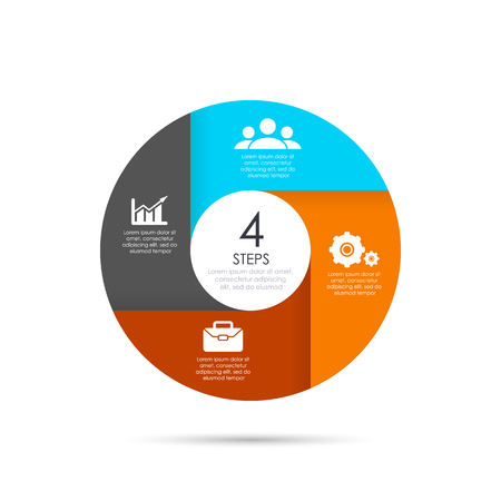 Vector circle template for infographics. Business concept with 4 elements, steps or options. Ilustrace