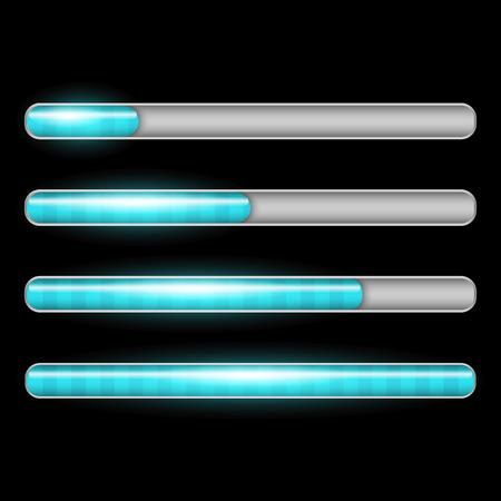 Progress loading bar with lighting. Preloaders on black background.