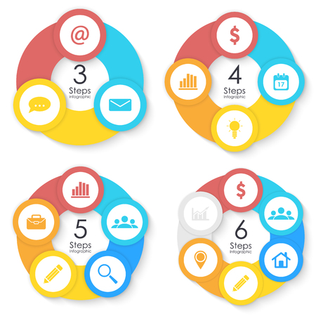 Set template for circle diagram, options, web design, graph and round infographic. Business concept with 3, 4, 5, 6 elements, step, option. Vector illustration.