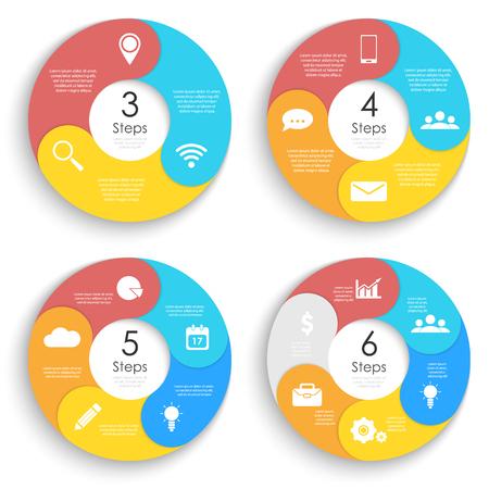 Vorlage für Kreisdiagramm, Optionen, Webdesign, Diagramm und runde Infografik festlegen. Geschäftskonzept mit 3, 4, 5, 6 Elementen, Schritt, Option. Vektor-Illustration. Vektorgrafik