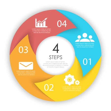 Circle arrows for infographic. Business concept with 4 options, steps or processes. Vector pie charts.