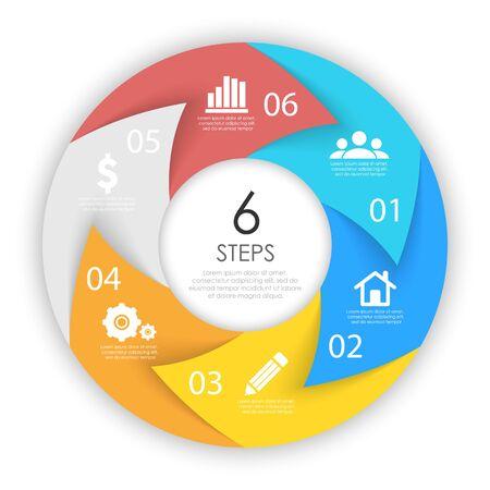 Frecce circolari per infografica. Concetto di business con 6 opzioni, passaggi o processi. Grafici a torta di vettore.
