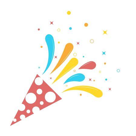 Fiesta de cumpleaños explosiva con estrellas, cintas, papel rayado. Explosión de popper con serpantin, tirando de galleta aislado sobre fondo blanco. Ilustración de vector
