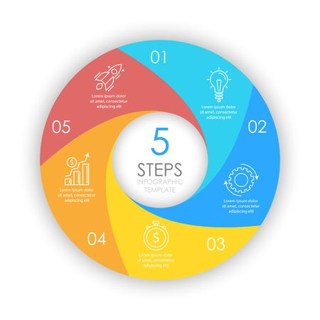 Vector circle infographic template with 5 options for presentations or layouts. Business concept round diagram. Ilustrace