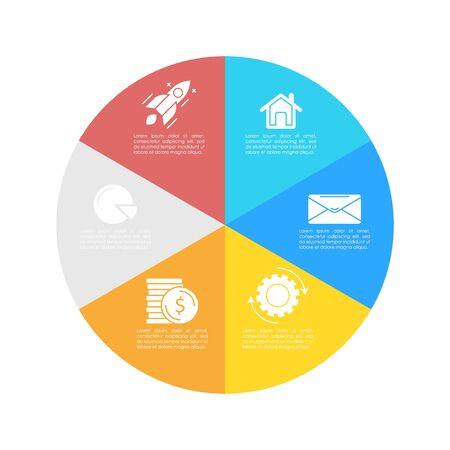 Modèle infographique rond avec 6 étapes pour la présentation ou le graphique. Diagramme de cercle de concept d'entreprise. Illustration vectorielle.