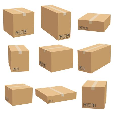 Set of cardboard box mockups. Isolated on white background. Vector carton packaging box images. Illusztráció