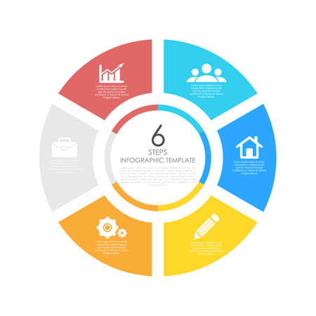 circle infographic. Round chart template with 6 options or steps. Business concept illustration.