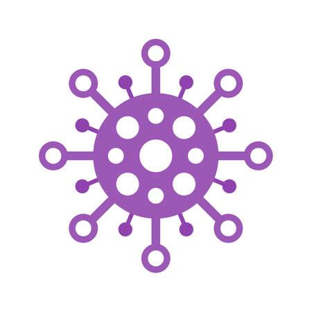 Coronavirus COVID-19 symbol. Flat circle virus icon. Global pandemic alert.