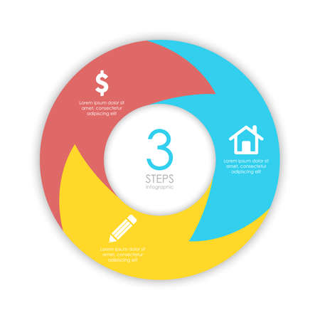 circle chart infographic template with arrow for cycle diagram, graph, web design. Business concept with 3 steps or options. Abstract background.