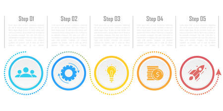 Template circle infographic vector with arrows and 5 steps or options. Infographics for business concept can be used for layout, presentations, banner, diagram or graph.