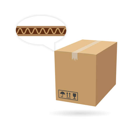 Cardboard box mockup. Isolated on white background. Vector carton packaging box image. Vettoriali