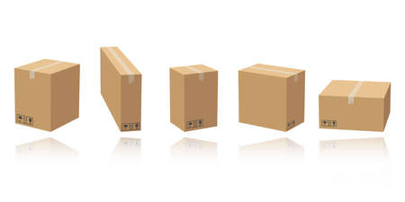 Set of cardboard box mockups different size. Isolated on white background. Vector carton packaging box images. Vettoriali