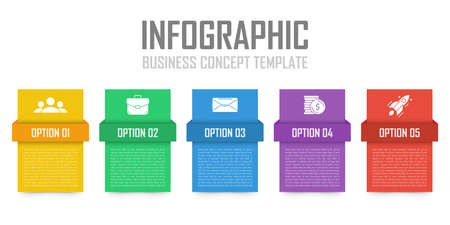 Business infographic concept. Template with 5 steps or options. Design can be used for diagram, infograph, chart, presentation or web. Vector illustration.