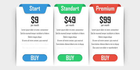 Set of pricing plans. Templates table in flat design. Table tariff banner for websites and applications. Vector illustration. Illusztráció