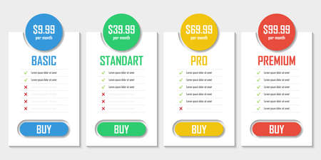 Set of pricing plans. Templates table in flat design. Table tariff banner for websites and applications. Vector illustration. Vettoriali