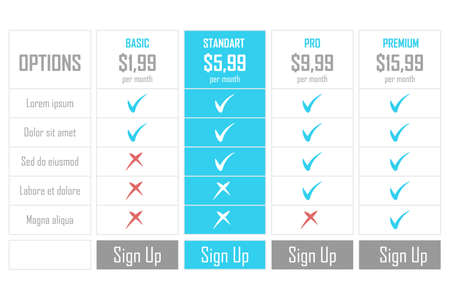 Set of pricing plans. Templates table in flat design. Table tariff banner for websites and applications. Vector illustration.