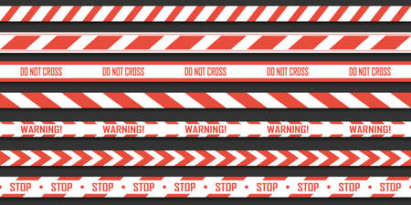 Set of red with white warning seamless stripes. Vector danger tapes. Ribbons do not cross, danger and caution. Vettoriali