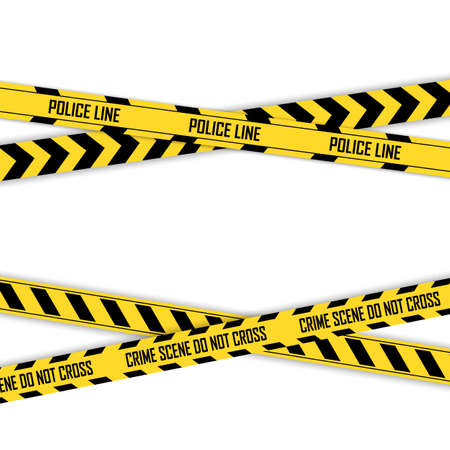 Police yellow with black line tapes. Crime safety line. Warning and danger seamless stripes. Isolated vector illustration.