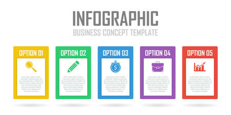 Template infographic with 5 steps or options. Design can be used for diagram, chart, presentation or web. Business concept.