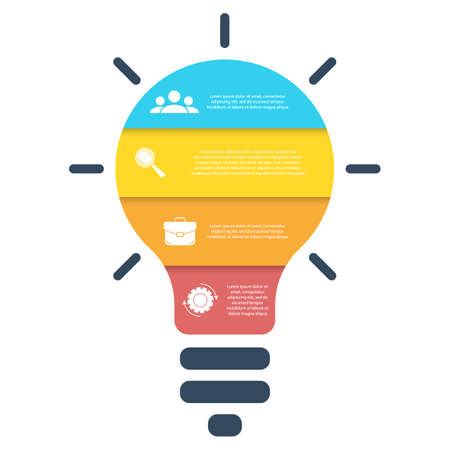 Light bulb infographic. Modern colorful lamp. Business idea concept with 4 options, steps or elements. Template for presentation or graph. Illusztráció
