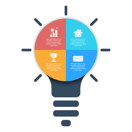 Light bulb infographic. Modern colorful lamp. Business idea concept with 4 options, steps or elements. Template for presentation or graph. Vettoriali