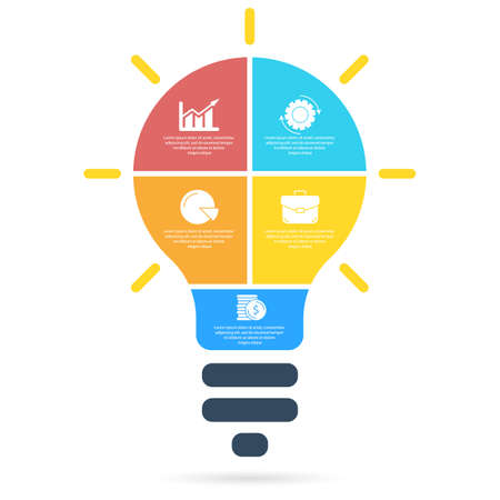 Light bulb infographic. Modern colorful lamp. Business idea concept with 5 options, steps or elements. Template for presentation or graph.