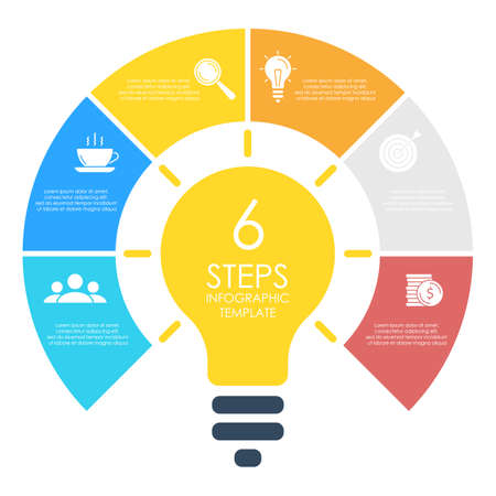 Light bulb infographic. Modern colorful lamp. Business idea concept with 6 options, steps or elements. Template for presentation or graph.