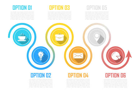 Business infographics with arrow. Template with 6 steps, options or elements. Can be used for diagram or web design. Vector illustration.