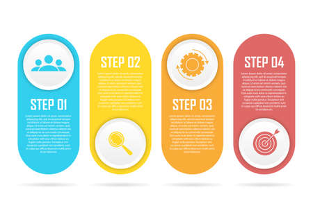 Business infographics with 4 steps, options or elements. Template can be used for diagram or web design. Vector illustration