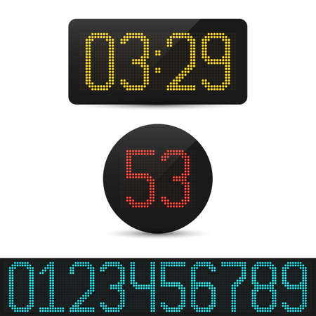 Digital clock and numbers set. Electronic alarm icon. Letters and numbers for a electronic devices. Vector template illustration.