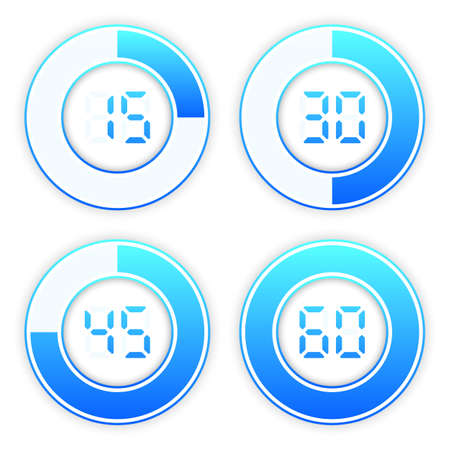 Timer and clock isolated set icons. Stopwatch icons template for your business project. Vector illustration. Vettoriali