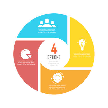 Circle infographics template can be used diagram, presentation or web design. Business concept with 4 options or steps. Vector infographic design.