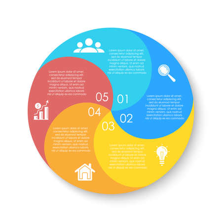 Circle infographics template can be used diagram, presentation or web design. Business concept with 5 options or steps. Vector infographic design.