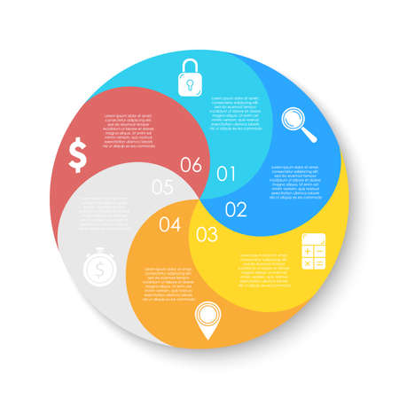 Circle infographics template can be used diagram, presentation or web design. Business concept with 6 options or steps. Vector infographic design. Vettoriali