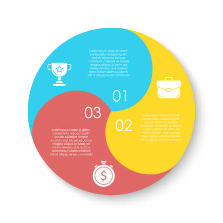 Circle infographics template can be used diagram, presentation or web design. Business concept with 3 options or steps. Vector infographic design.