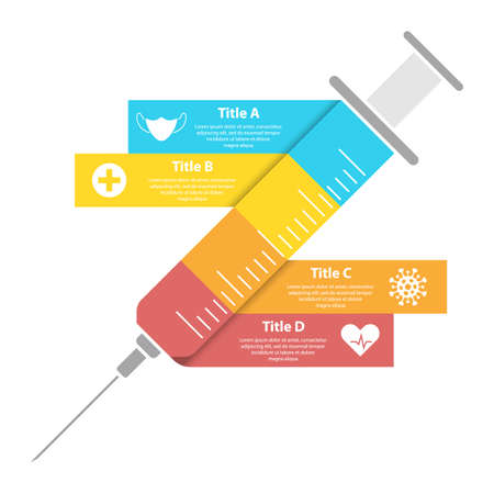 Abstract syringe infographic. Medical and healthcare template can be used layout, diagram or graph. vaccine info.