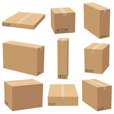 Set of cardboard boxes mockups. Carton delivery packaging box. Vector 3D illustration isolated white background. Иллюстрация