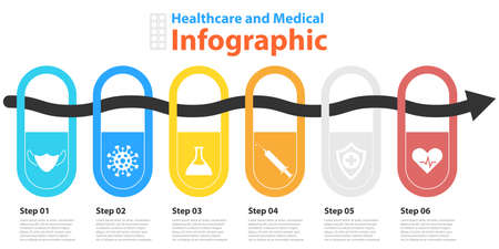 circle infographic. Medical and healthcare template with 6 elements, steps, options, parts or processes for presentation or diagram. Vector illustration.