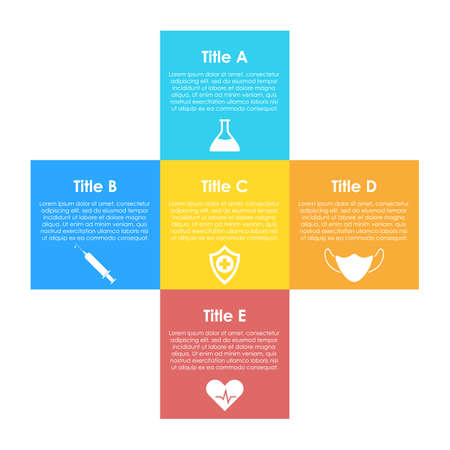 circle infographic. Medical and healthcare template with 5 elements, steps, options, parts or processes for presentation or diagram. Vector illustration.