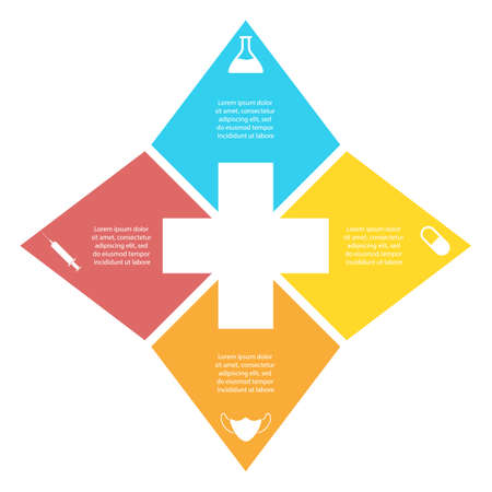 circle infographic. Medical and healthcare template with 4 elements, steps, options, parts or processes for presentation or diagram. Vector illustration.