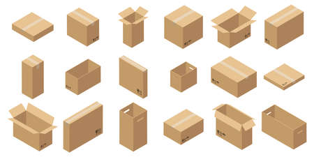 Set of isometric carton packaging boxes. Closed and open cardboard box. Isolated on white background. Иллюстрация