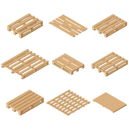 Vector wooden isometric pallet. Isolated on white background. Flat style.