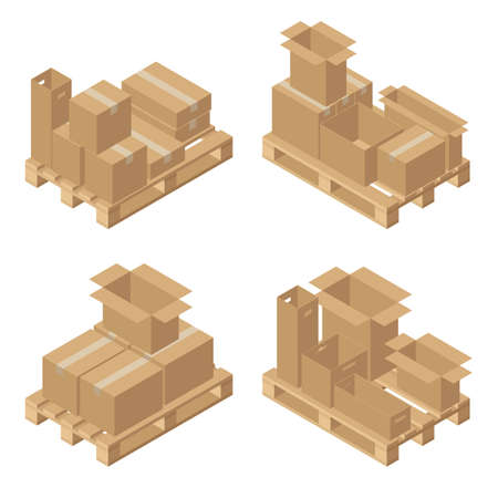 Isometric cardboard boxes on wooden pallet. Cargo box. Isolated on white background. Vector illustration in flat style.